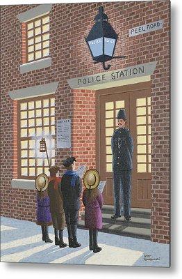 Police Christmas Card Metal Prints