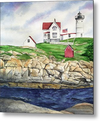 Cape Neddick Lighthouse Paintings Metal Prints