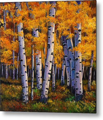 Autumn Scene Paintings Metal Prints