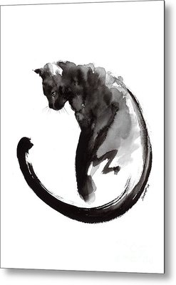 Black And White Cats Metal Prints