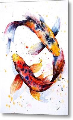 Koi Fish Pond Metal Prints