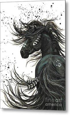 Friesian Horse Metal Prints