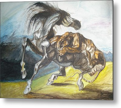 Tiger Attacks An Wild Horse Metal Prints