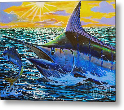 Angler Paintings Metal Prints