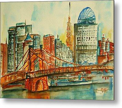 Roebling Bridge Paintings Metal Prints