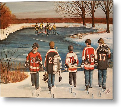 Youth Hockey Paintings Metal Prints