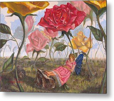 Flower Pink Fairy Child Paintings Metal Prints