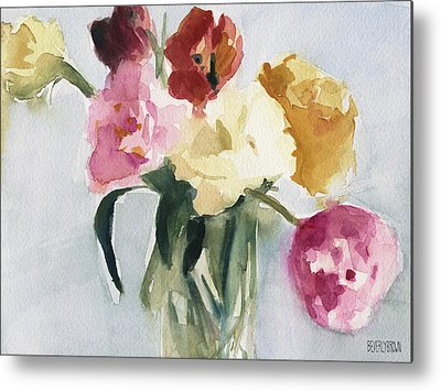 Tulips Watercolor Metal Prints