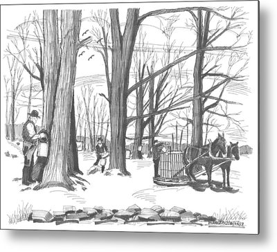 New England Snow Scene Drawings Metal Prints