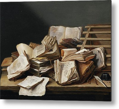 Still Life With Books Metal Prints