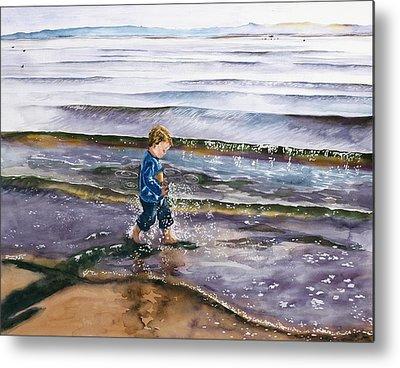 Little Boy In Tide Metal Prints