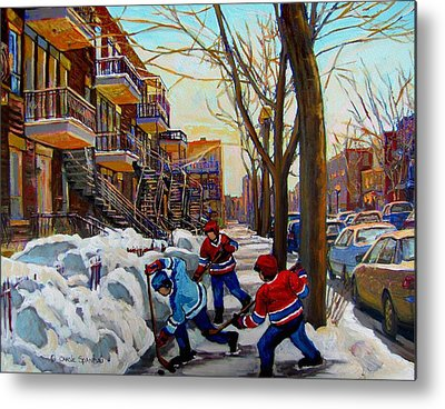 Of Hockey Paintings Metal Prints