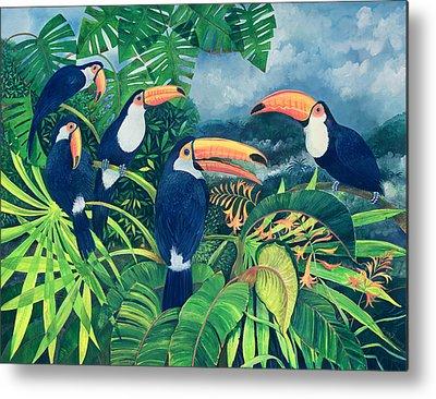Group Of Birds Paintings Metal Prints