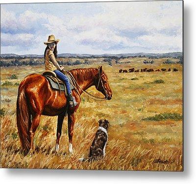 Cattle Dog Paintings Metal Prints
