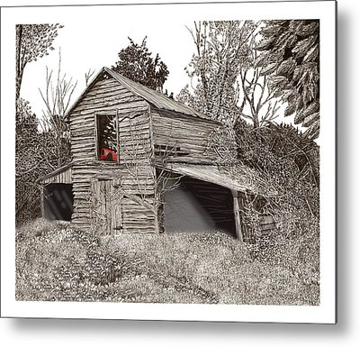 Pen And Ink Of Barn Metal Prints