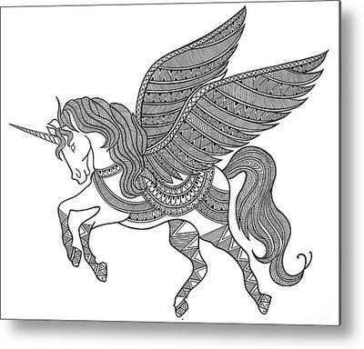 Extinct And Mythical Drawings Metal Prints
