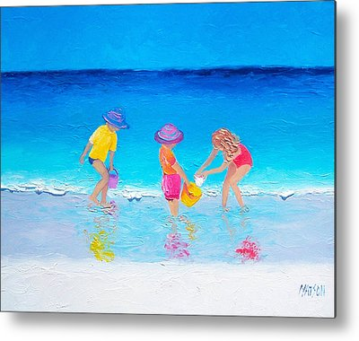 Children Playing On Beach Metal Prints
