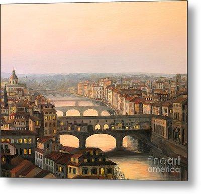 Tuscan Dusk Paintings Metal Prints