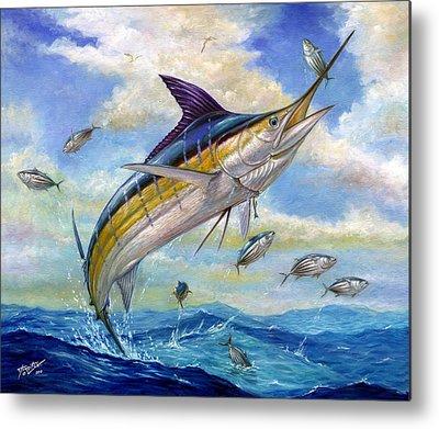 Blue Marlin Paintings Metal Prints