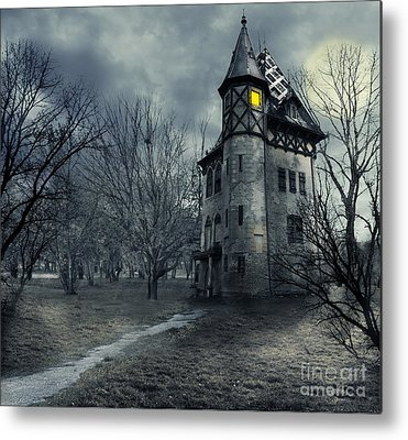 Haunted House Digital Art Metal Prints