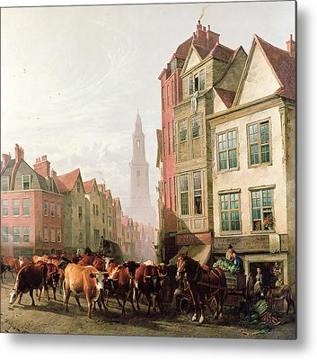Horse And Buggy Paintings Metal Prints