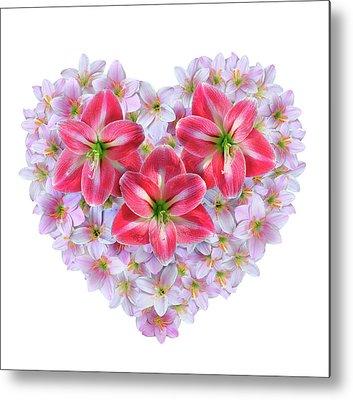 Fairy Hearts Pink Flower Metal Prints