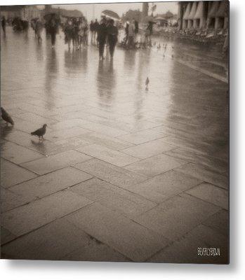 Walking In The Rain Metal Prints