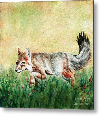Fox Kit Paintings Metal Prints