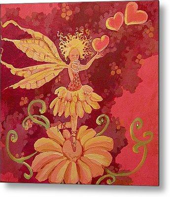 Fairy Hearts Pink Flower Drawings Metal Prints