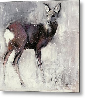 Wintry Mixed Media Metal Prints