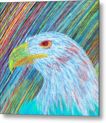Eagle With Red Eye Metal Prints