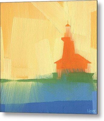 Harbor Paintings Metal Prints