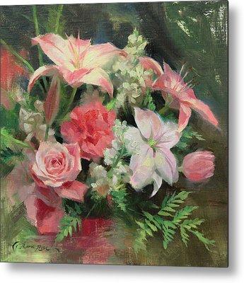 Carnations Paintings Metal Prints