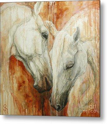 Two White Horses Metal Prints