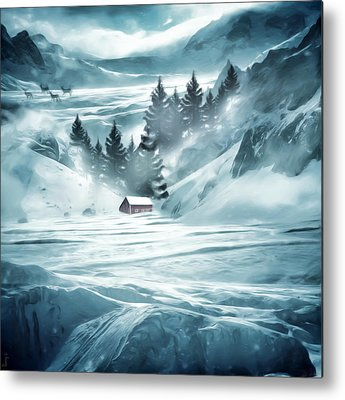 Red Barn In Winter Metal Prints
