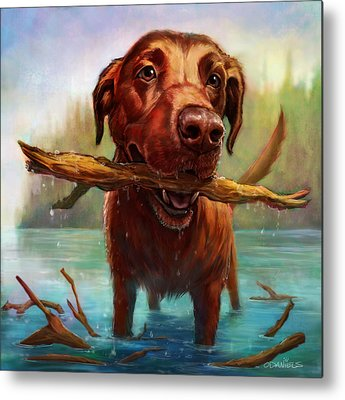 Retriever Digital Art Metal Prints