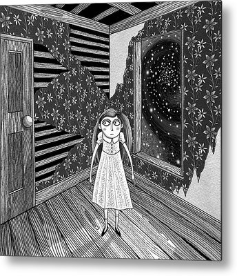Haunted House Drawings Metal Prints