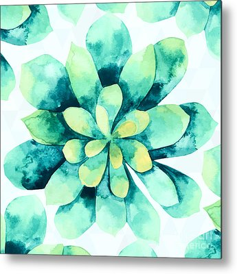 Succulent Digital Art Metal Prints