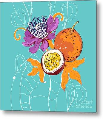 Passion Fruit Flower Metal Prints