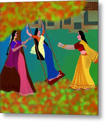 The Swing Under The Gulmohur Tree                                             Metal Print by Latha Gokuldas Panicker