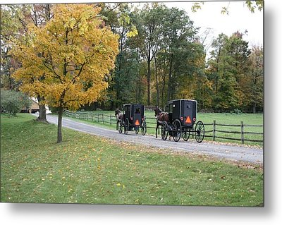 An Autumn Amish Ride Metal Print
