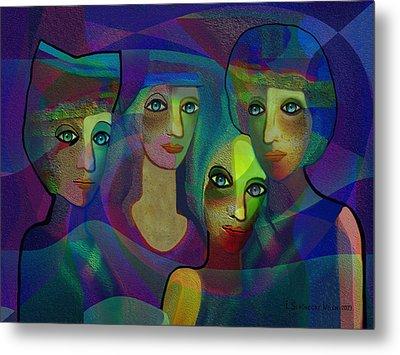027 - Sisters  Blue   Metal Print