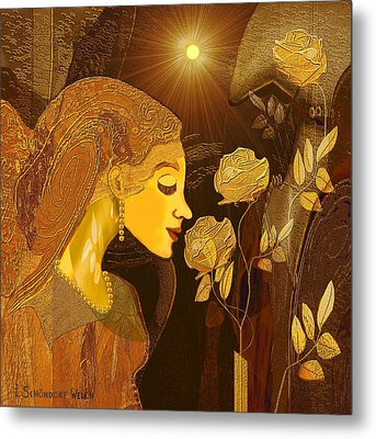 171 - Woman With Golden Roses     Metal Print by Irmgard Schoendorf Welch
