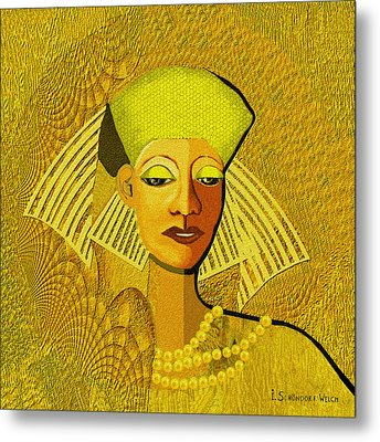 189 Metallic Woman Golden Pearls Metal Print