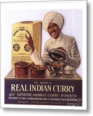 1910s Uk Indian Food Curry Warning - Metal Print by The Advertising Archives