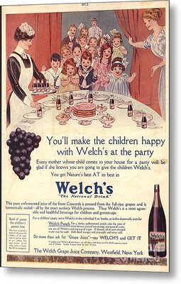 1910s Usa Welchs Juice Children�s Metal Print by The Advertising Archives