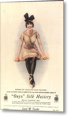 1915 1910s Usa Onyx Silk Stockings Metal Print