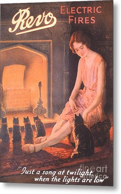 1920s Uk Fires Cats Revo  Appliances Metal Print by The Advertising Archives