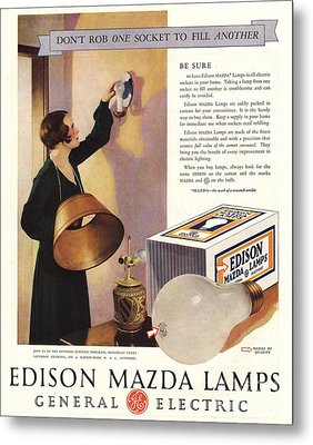 1920s Usa Edison Mazda Lamps General Metal Print by The Advertising Archives