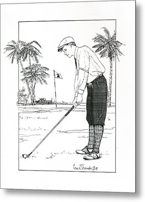 Metal Print featuring the drawing  1920's Vintage Golfer by Ira Shander